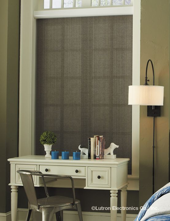 Add a soft touch with a textured roller shade.