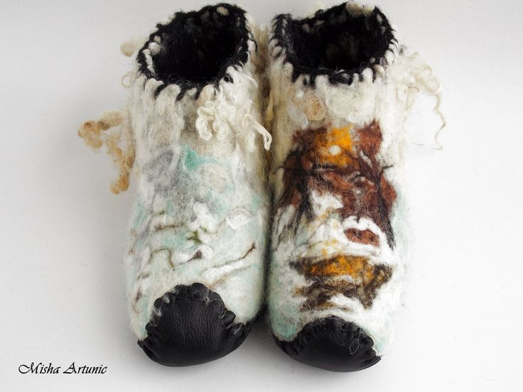 Felted booties with leather soles for men - Winter by Mishaartunic on Etsy