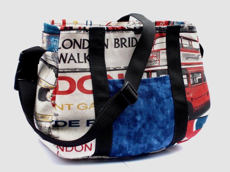 Tasche, London, Londontasche, London-Tasche, blau, rot, schwarz, Jeans, Umhängetasche, Geschenke für Sie, Boho, Handtasche, von BluebirdysTaschen auf Etsy
