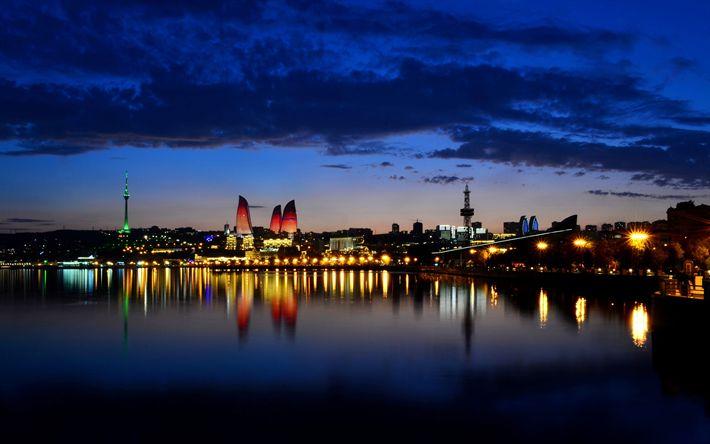 Hämta bilder Baku Låga Torn, skyskrapor, Baku, kväll, Azerbajdzjan