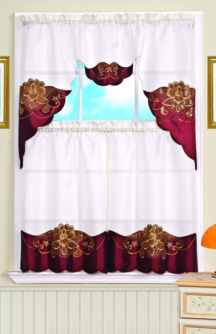 Piece kitchen curtain swag amp tiers set turquoise beige 60x36 amp 30x36 - Embroidered Kitchen Curtain 9 99