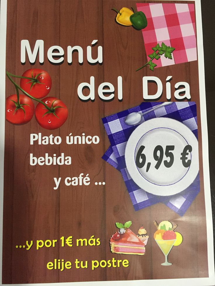 Te informamos que en tu cafeteria preferida, ya tienes disponible menú del día. Plato único, bebida y café por 6,95€.... y por tan solo 1€ mas, elige tu postre. Te estamos esperando.