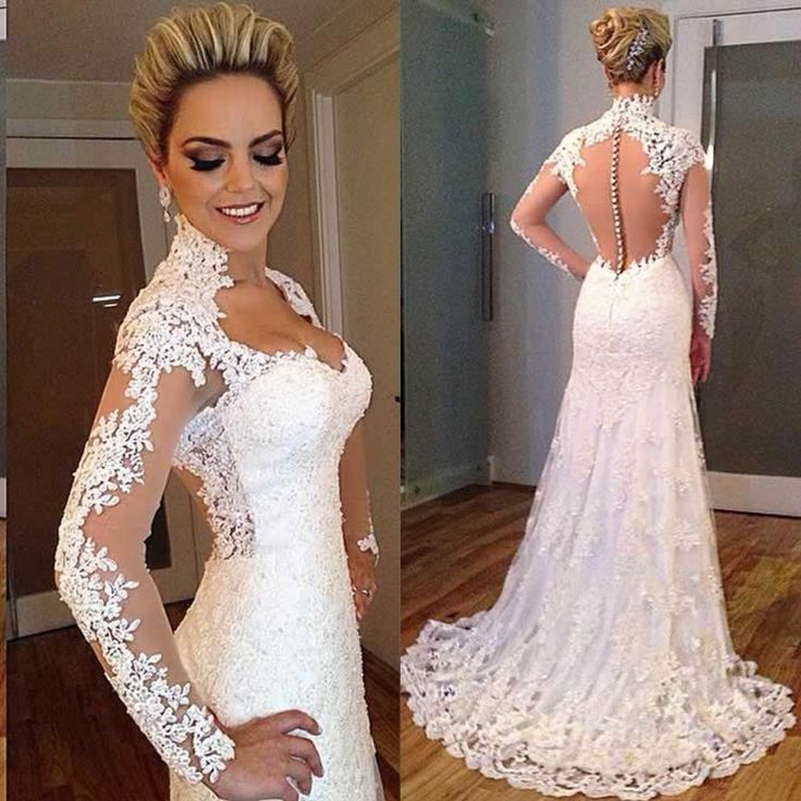 2016 Vintage Full Lace Long Sleeve Mermaid Wedding Dresses with Covered Buttons Vestidso Queen Anne Neckline Plus Size Bridal Gowns Online with $162.31/Piece on Flodo's Store   DHgate.com