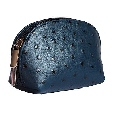 Navy Blue Ostrich Leather Coin Purse - Now with free UK postage!
