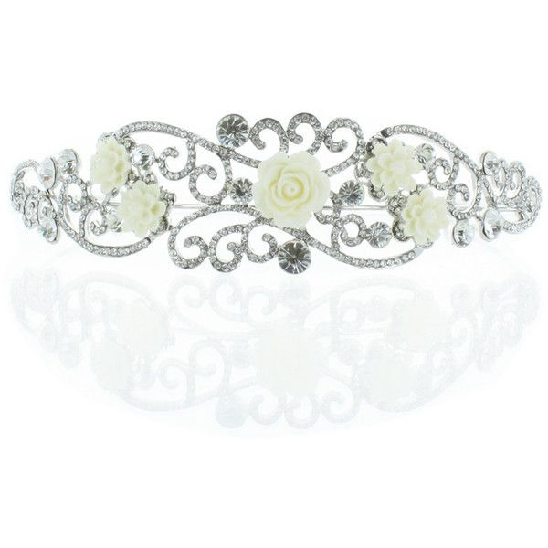 Kate Marie 'Niki' Silver Rhinestone Crown Tiara with Ivory Flowers ($30) ❤ liked on Polyvore featuring accessories, hair accessories, crowns, jewelry, tiara, gold, silver headband, rhinestone tiara, crown tiara and crown headband