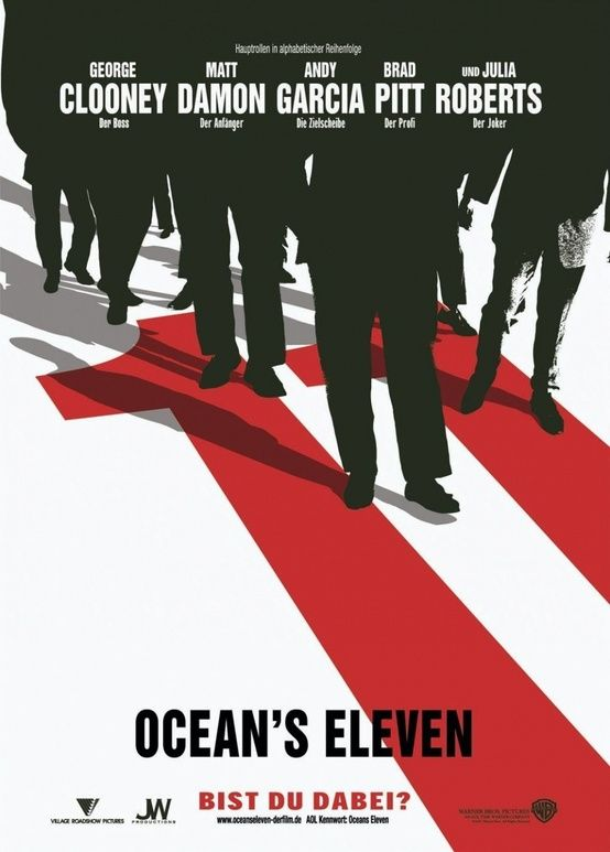 Neville Brody created this for oceans eleven the type goes well with the black of the shadows of the people. the red number also stands out because red attracts are eyes.