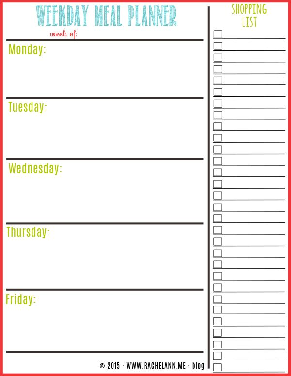 Printable Weekly Meal Planner  Menu For The Week Template