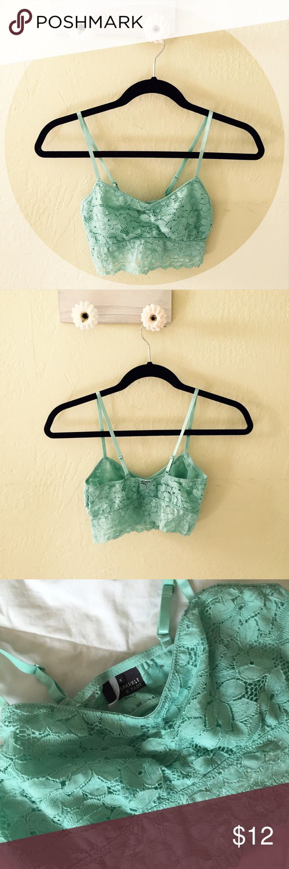 Scalloped lace bralette Sparkle & Fade teal bralette with scalloped lace detailing and adjustable straps  worn 3-5 times Urban Outfitters Intimates & Sleepwear Bandeaus