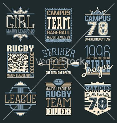 Rugby and baseball team college emblems vector by Neuevector on VectorStock®