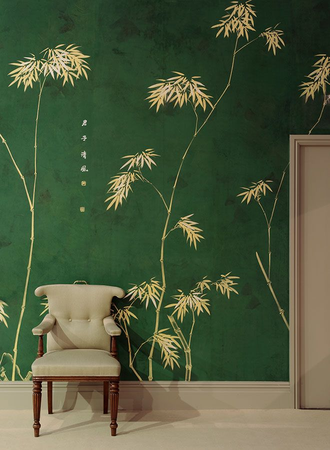 De Gournay Wallpaper Collection. 'Bamboo' design in Golden design colours on Edo Green painted silk.