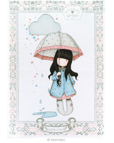 Gorjuss Tea Towel - Puddles of Love