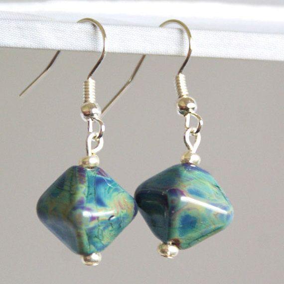 Raku Lampwork Diamond Shaped Earrings by SamMadeWithLove on Etsy, $18.00