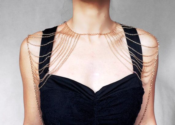 gold statement shoulder jewelry// gold chain top//steampunk