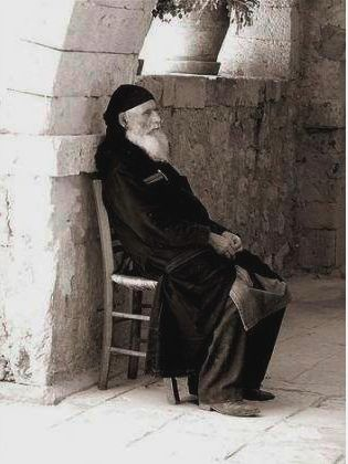 A monk at Arkadi Monastery  Source:  Helene Semanderes - Facebook HellenicGenealogyGeek.com - Family History Research Tools for Greek Genealogy