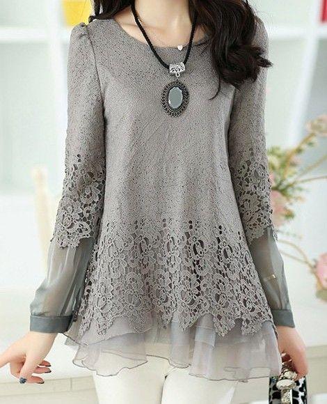Solid Color Long Sleeve Round Collar Skirt Hem Lace Embellished T-shirt For Women. Buy n Enjoy !!!