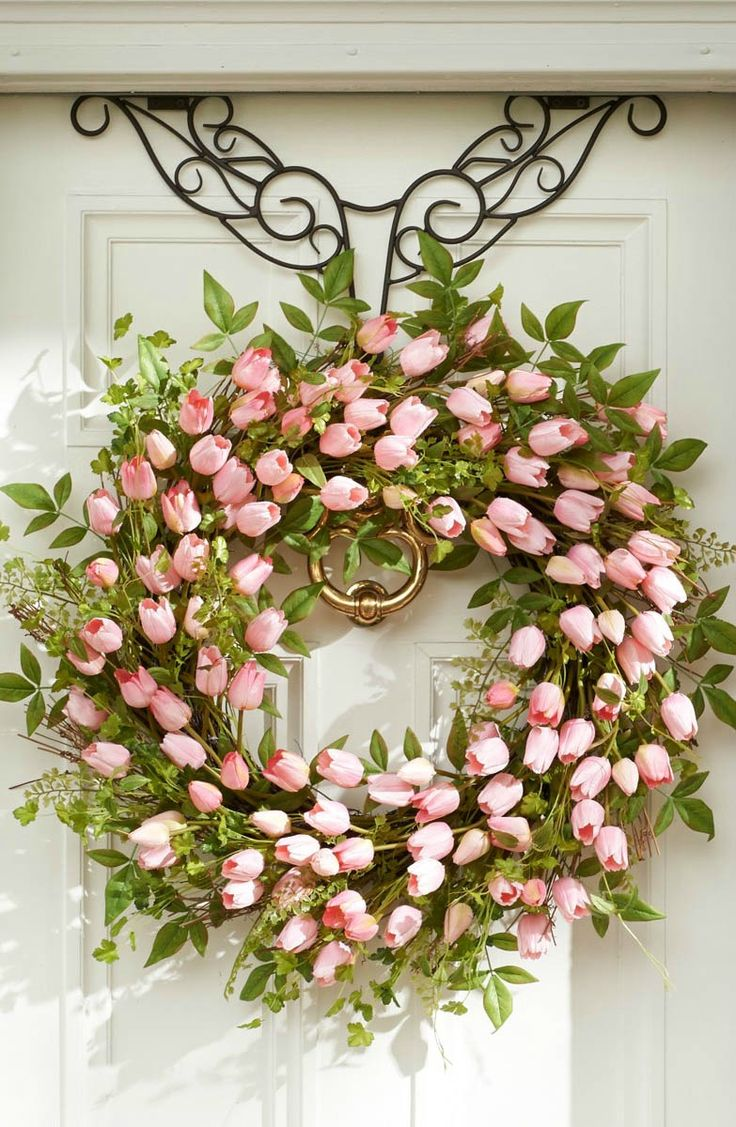 Put a fresh new face on your home with the look of professionally designed foliage that never needs watering, with this Tulip Wreath. | Love, Grandin Road