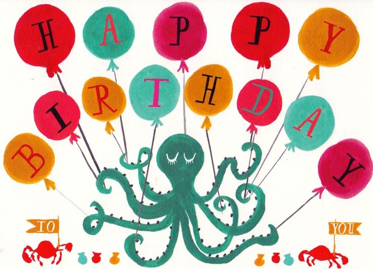 """A colorful underwater Octopus wishing you a very happy birthday! Hand-drawn illustration and typography Printed in the U.S.A. Folded A6 card measuring 4.5"""" x 6.25"""" Flat matte printed in brilliant hues"""