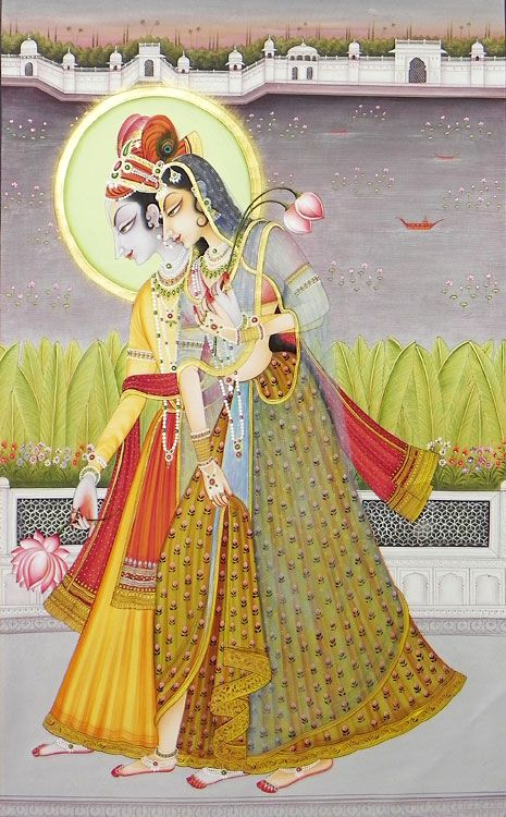 Krishna Collecting Lotus for Radha (Miniature Painting on Canvas - Unframed))