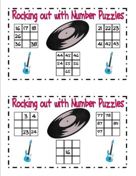 Here's a series of rock 'n roll themed puzzles and activities related to using the 100 board. Also includes some number order/number line activities.