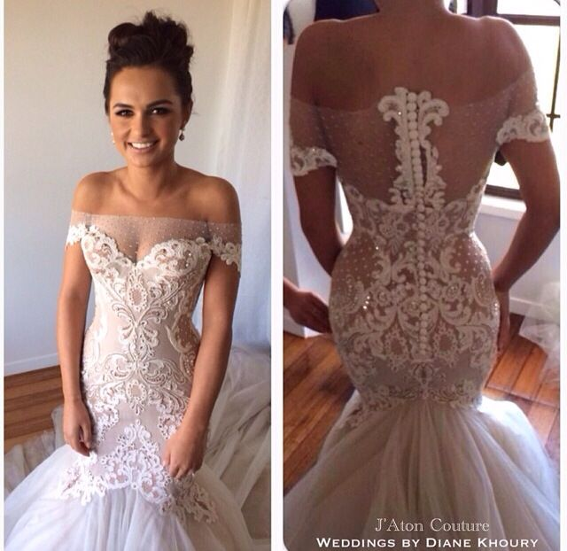 Cute Off Shoulder Mermaid Lace Bead Bridal Wedding Dress