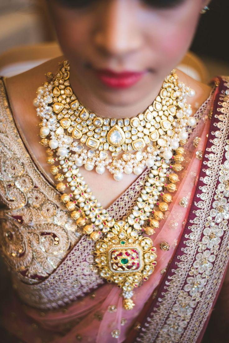 Wedding lehenga styled with polki studded pearl drop choker and jadau raani haar.   weddingz.in   India's Largest Wedding company   Indian Bridal Jewellery Inspiration   Indian Wedding Jewellery  