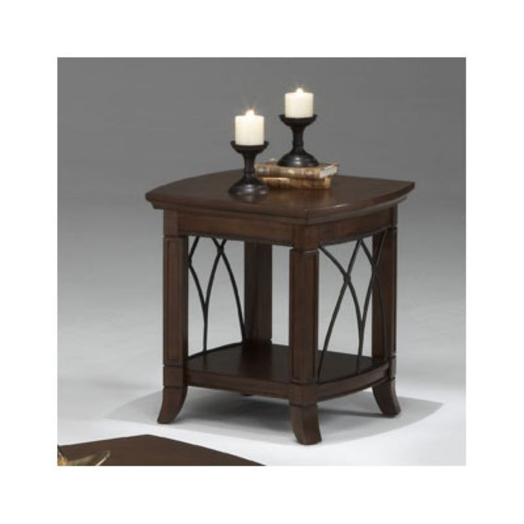 Bernards Cathedral Cherry with Metal End Table - 8621