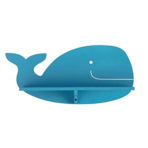 Mensola da parete balena in legno azzurro H 19 cm WILLY
