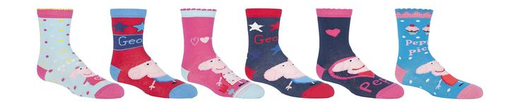 Girls Boys Authentic cotton George Peppa Pig Socks - 6 Pairs (1-2 years). Lovely six pack of unisex childrens Peppa Pig socks in 6 designs. You will receive one pair of each design shown. Cotton rich official Peppa Pig Merchandise. Superb Quality with the very best designs. These make a really super gift for children.