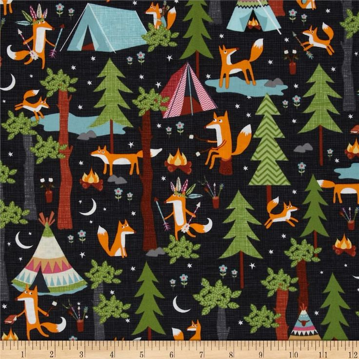 Timeless Treasures Under the Stars Fox Camping Steel from @fabricdotcom  Designed for Timeless Treasures, this cotton print fabric is perfect for quilting, apparel and home decor accents. Colors include black, orange, yellow, cream, shades of grey, shades of brown, shades of green, shades of blue, and shades of pink.