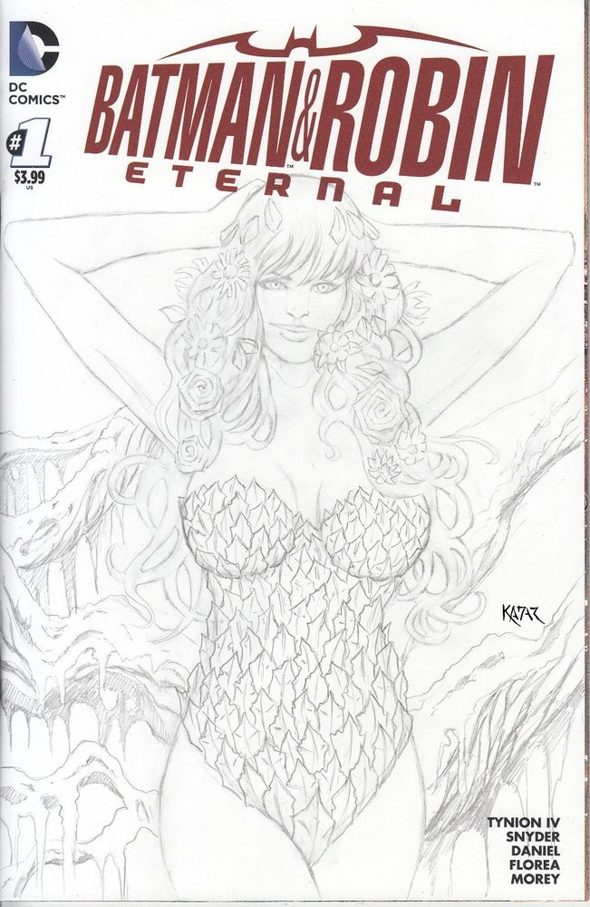 Batman and Robin Eternal #1 POISON IVY drawn sketch cover by Frank Kadar