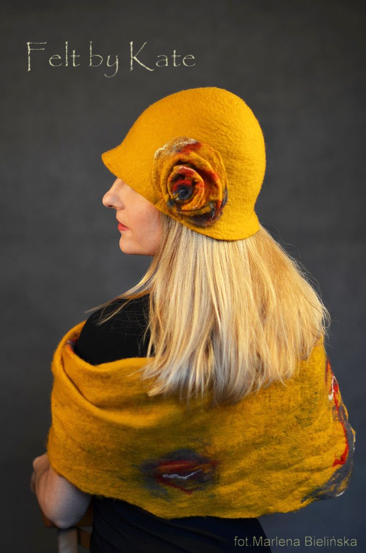 "Stylish saffron hat and scarf. Made of merino wool felted - ""Felt by Kate "" https://www.facebook.com/FeltbyKate/"