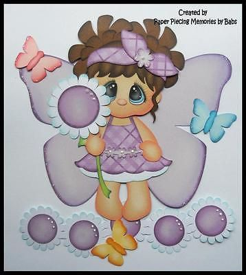 Butterfly-Girl-Dark-Hair-Premade-Paper-Piecing-for-Scrapbook-Pages-by-Babs