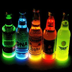 Cool Glow Bottle Collars (50 per pack). Light up your fave brew and see the light! Plus Glow-In-The-Dark & LED party items: stir sticks, mugs, serving items, jewelry, masks & more.