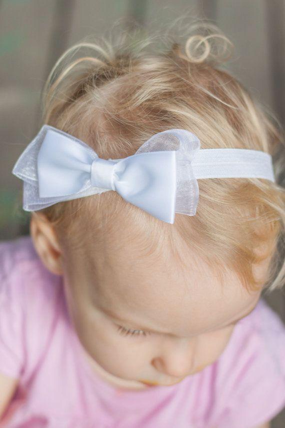 white christening headband white baby headband by LaCharDesigns, $8.80
