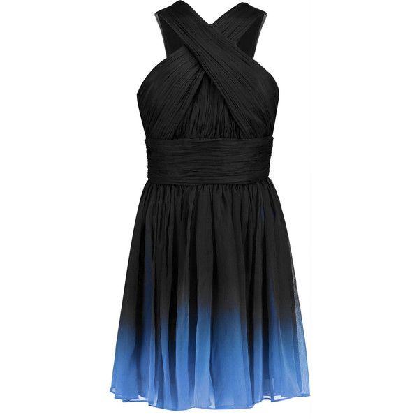 Halston Heritage Ombré plissé-chiffon mini dress ($223) ❤ liked on Polyvore featuring dresses, short dresses, black, short ombre dress, chiffon dress, short black dresses, cross dress and black dress