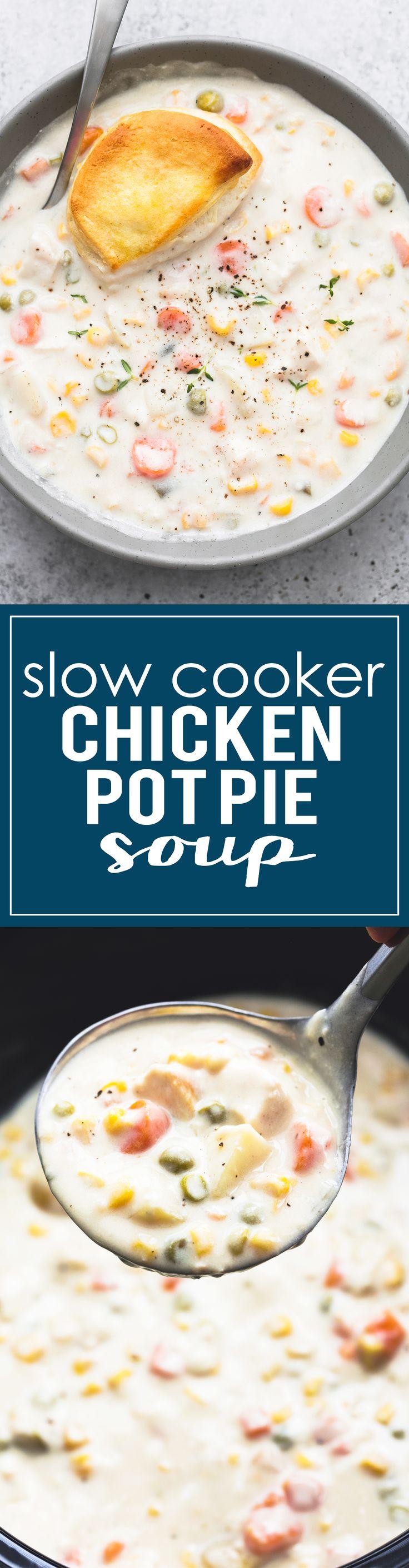Creamy Slow Cooker Chicken Pot Pie Soup is a delicious twist on classic chicken pot pie. | lecremedelacrumb.com