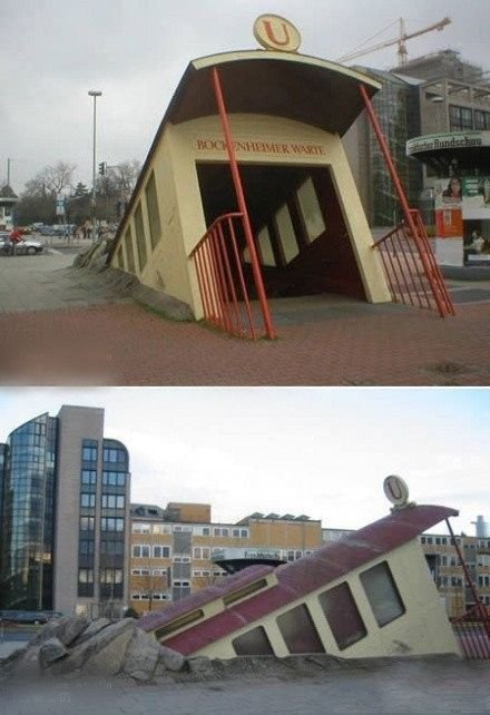 Frankfurt's Bockenheimer Warte station. A weird subway entrance, looking like a train bursting through the sidewalk from below, is located in Frankfurt. Architect Zbiginiew Peter Pininski reported he felt inspired by surrealist artist René Magritte when creating it.