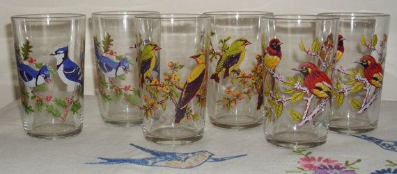 Check out this item in my Etsy shop https://www.etsy.com/uk/listing/246243688/1970s-bird-print-drinking-glasses-set-of