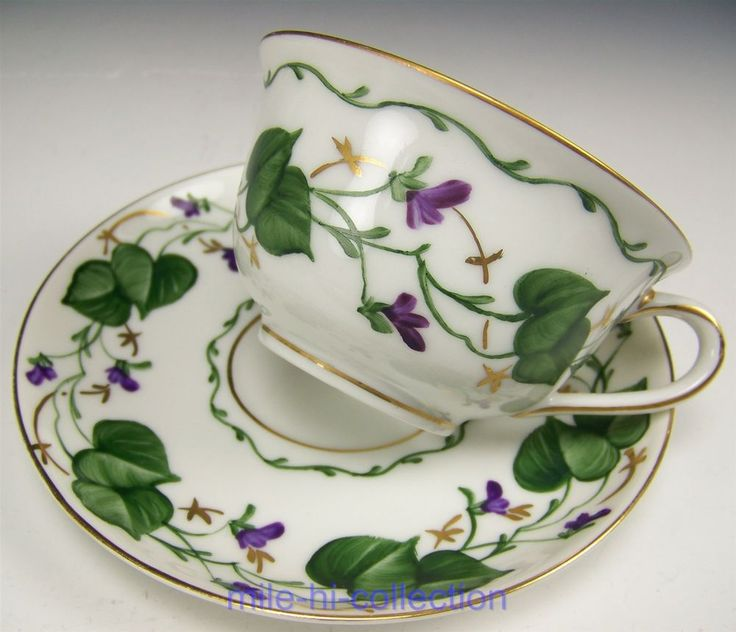 LOVELY LIMOGES HAND PAINTED VIOLETS & LEAVES TEA CUP SAUCER TEACUP