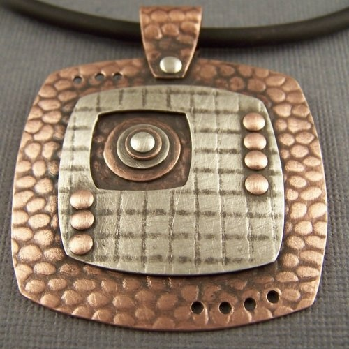 Copper and Sterling Silver Mixed Metal Mod Squares and Circles Pend...... | LPJewelry - ArtFire