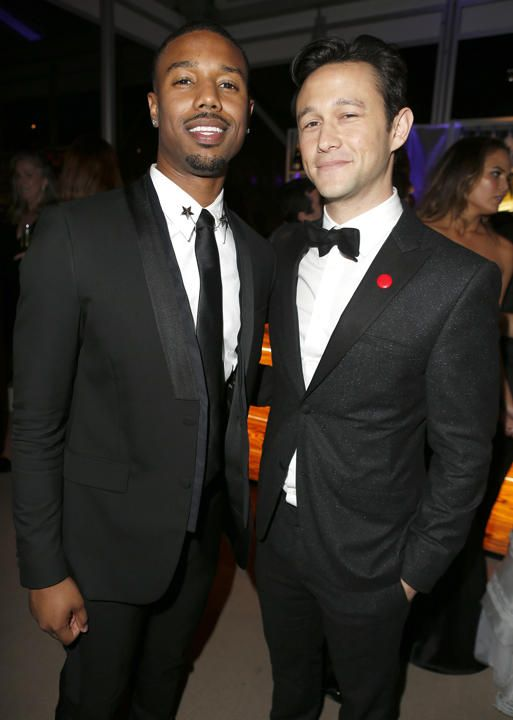 Michael B. Jordan and Joseph Gordon-Levitt attend the 2014 Vanity Fair Oscar Party Hosted By Graydon Carter on March 2, 2014 in West Hollywo...