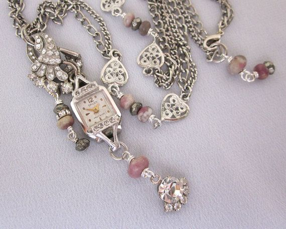 Vintage Multi Strand Upcycled Rhinestone Watch Necklace - One of a Kind Designs by jryendesigns.etsy.com