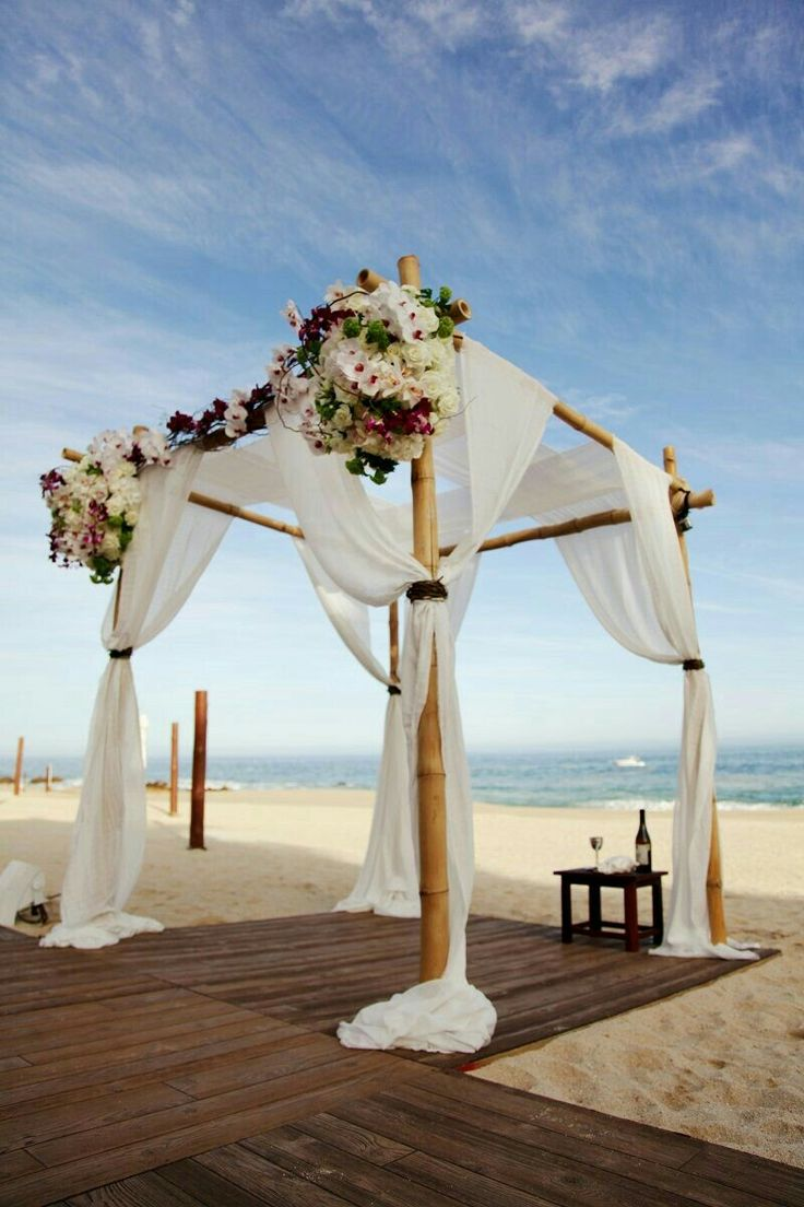 small beach wedding ceremony ideas%0A Bamboo  soft fabrics  florals  sand and natural wood  How could you go  wrong with this Wedding Venue