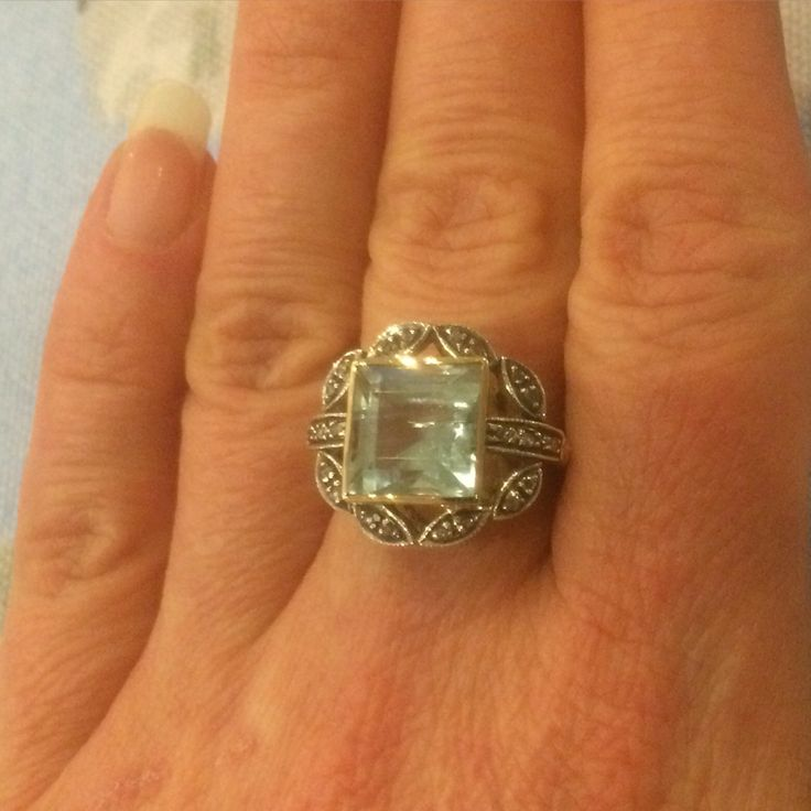 Jewelgasm #ring alert: this statement square #aquamarine surrounded by #diamonds lets your fingers do the talking!