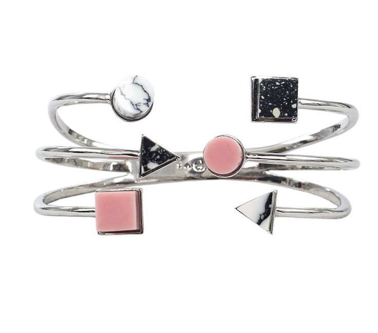 BTS 31 Handcuff with Black, Grey and White  Eshvi Rhodium plated hand cuff with black and white marble and pink and grey resin details The Box Boutique, This Must Be The Place, E-commerce, Fashion, Luxury Brands, Free UK DELIVERY, International Shipping, Buy Now, Jewelry, Women's Fashion