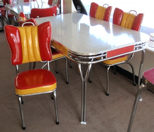 Vintage Grey Red Yellow Dinette Chrome Tube Table W/4 Rec