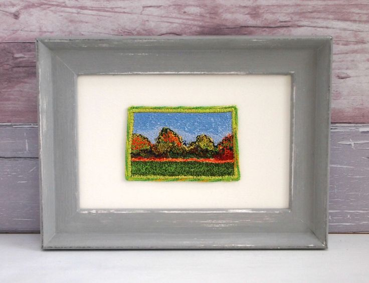 Original artwork, Lincolnshire landscape, Autumn trees, Unique Gift, contemporary art, machine-embroidered, handpainted frame by CarlyGilliatt on Etsy https://www.etsy.com/listing/269355048/original-artwork-lincolnshire-landscape