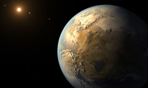 An artist's rendering if Kepler 186f – a world extremely similar to Kepler 438b, an Earth-like exoplanet orbiting an M-class dwarf star in the habitable zone.