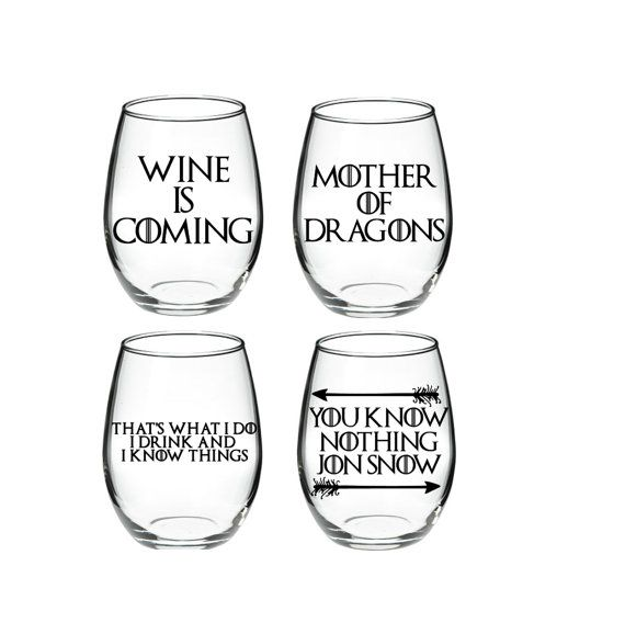 Game of Thrones GOT Wine Set of 4 15 or 21 by DanniBeCollection