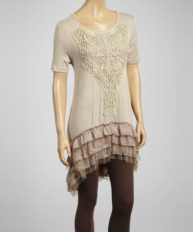 Look what I found on #zulily! Khaki Embroidered Front Tunic by Lady Noiz #zulilyfinds